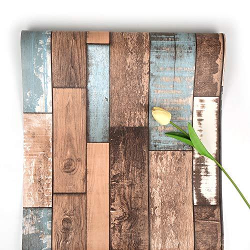 Houten zelfklevend behang Peel and Stick behang houtcontactpapier afneembaar behang voor woonkamerdeur kast, baardhek en keuken 45 * 500 cm 45 * 500cm Oud schip