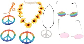 Baoblaze Peace Sign Jewelry Set Hippie Colorful Earrings Necklace Party Costumes Accs