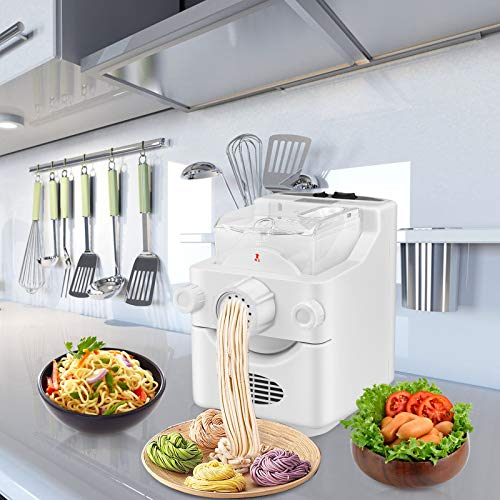 InLoveArts Automatische Nudelmaschine Elektrische Pasta Maker Multifunktions-Haushaltsnudelmaschine mit 9 Nudelformen und 1 Knödelformen für Spaghetti, Fettuccini, Lasagne oder Dumpling Skins