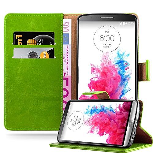 Cadorabo Hülle für LG G3 in Gras GRÜN – Handyhülle mit Magnetverschluss, Standfunktion & Kartenfach – Hülle Cover Schutzhülle Etui Tasche Book Klapp Style