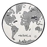 Tapis de bébé pépinière, chiffon doux infantile carte du monde Playmat couverture jouer tapis rond dentelle activité tapis tapis tapis de sol pour la maison des enfants décoration cadeau chambre
