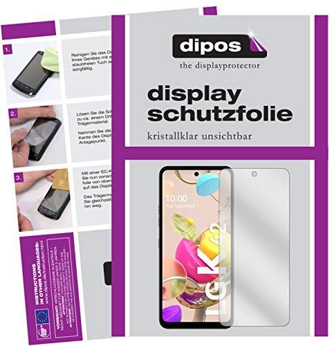 dipos I 2X Schutzfolie klar kompatibel mit LG K42 Folie Bildschirmschutzfolie (bewusst Kleiner als das Glas, da Dieses gewölbt ist)