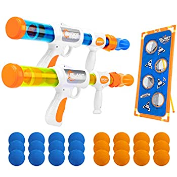 X TOYZ Shooting Game Toy for Kids 2 Player Foam Ball Air Popper Toy Guns & 24 Foam Balls & Shooting Target Gift for Age 5 6 7 8 9 10+ Years Old Kids Best Christmas Birthday Gift Ideas