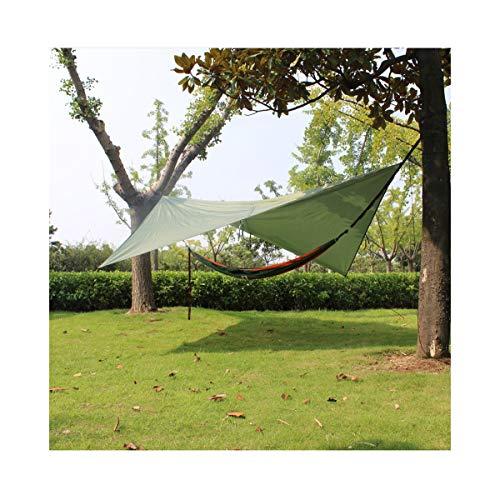 crayfomo Ultralight Tent Lona Impermeable Anti-UV Gran Verde Hamaca Lona portátil Sol Lluvia Refugio Mochila Camping Rainfly con estacas Cuerda