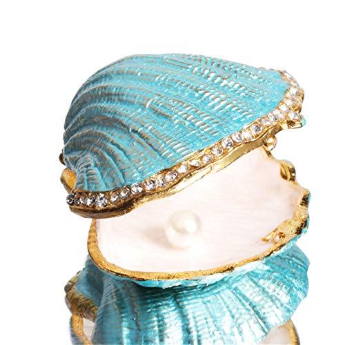 Waltz&F青い貝殻 ジュエリーボックス クリスタル動物アクセサリー小物入れ宝石箱 収納ボックス 置物 インテリア 装飾品
