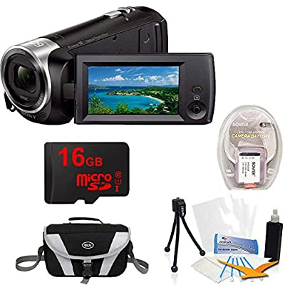 Sony Handycam CX405 Flash Memory Full HD Camcorder Bundle with 16GB Micro SD Memory Card, Large Gadget Bag Cameras, 1400 mAh Battery Pack, Screen Protectors, Table-top Tripod and Cleaning Kit from Sony