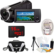 Sony Handycam CX405 Flash Memory Full HD Camcorder Bundle with 16GB Micro SD Memory Card, Large Gadget Bag Cameras, 1400 mAh Battery Pack, Screen Protectors, Table-top Tripod and Cleaning Kit