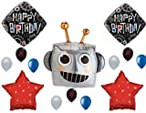 Robot Happy Birthday party balloons Decoration Supplies Cogwheels Gears Robotics
