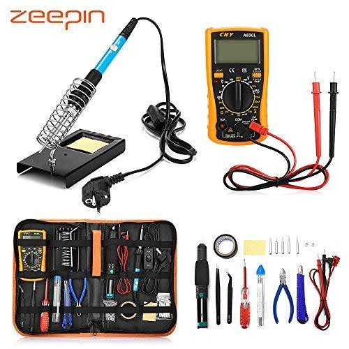 ZEEPIN Eléctrico Soldador Kit de Estaño Profesional -23 en 1 Soldadura con Maletín para Free