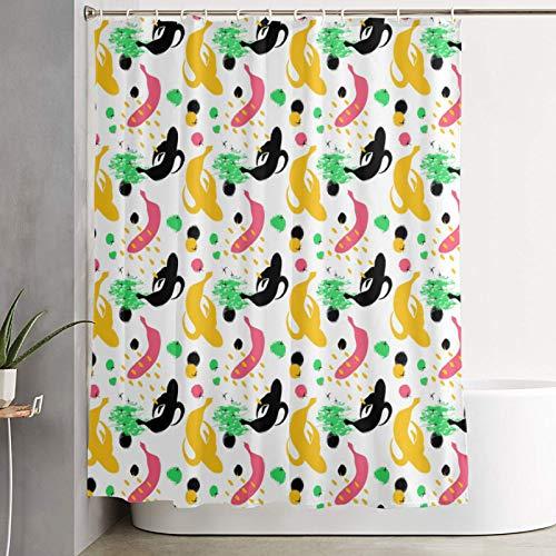 SSZO Personalisierter Duschvorhang,Abstrakte Bunte Bunte Bananen-Hand gezeichnete Bürsten-Grunge-Frucht,wasserabweisender Badvorhang für das Badezimmer 180 x 180 cm
