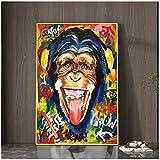 Mono colorido abstracto con gafas de sol, carteles de arte callejero e impresiones, animales, grafiti, pinturas en lienzo, cuadros artísticos de pared