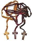 3 paquetes Cuentas de Rosario de Madera Collar Colgante Vintage hecho a mano Cruz del rosario católico Cuentas de oración de madera religiosa Collar Relgious Encanto Regalo Iglesia