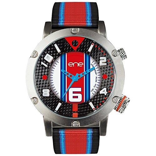 eNe Herren Analog Quarz Uhr mit Nylon Armband 650101111