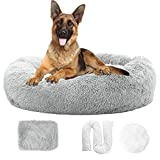 Zippered Calming Dog Bed with Removable Cover Fluffy Large Dog Bed Anti-Anxiety Dog Bed Donut Dog Bed Faux Fur Dog Bed Cuddler Dog Bed Bean Bag Calming Pet Bed for Dogs Furry Dog Bed 40' LightGrey