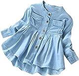 Baby Girls Kid Denim Ruched Long Sleeve T-Shirt Tops Dress Clothing Children Autumn Winter Fashion Blouse (Blue, 2T)