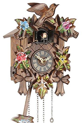 Eble Reloj de cuco de madera auténtica, mecanismo de cuarzo a pilas, llama de cuco, 5 hojas pintadas, 25 cm, 23137