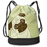 DDHHFJ Multifunctional Drawstring Backpack for Men & Women, Cute Little Dog with Tilted Head with Lovely Expression I Love Pugs Pet,Travel Bag Sports Tote Sack with Wet & Dry Compartments