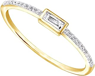 AFFY 1/10Ct Real Baguette Cut Round Cut Diamond 10K Solid Gold Engagement Wedding Stackable Band Ring