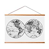 """Landmass 24"""" Wide Magnetic Poster Hanger Frame - Wall Hanging Wooden Frame for Posters, Prints, Photos, Pictures,and Artwork - Frame for Scratch Off Map - 17x24"""