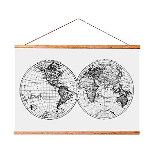 """Landmass 24"""" Wide Magnetic Poster Hanger Frame - Wall Hanging Wooden Frame For Posters, Prints, Photos, Pictures, and Artwork - Frame For Scratch Off Map - 24x36 24x32 24x18 24x17 17x24"""