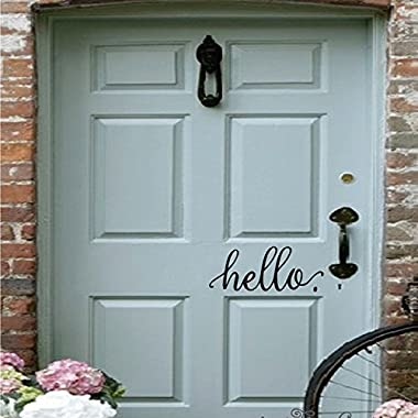 BATTOO Hello Wall Decal Farmhouse Wall Decor Hello. Door Decal Vinyl Lettering for Front Door Country Cottage Decor(9 X 4 ,black)