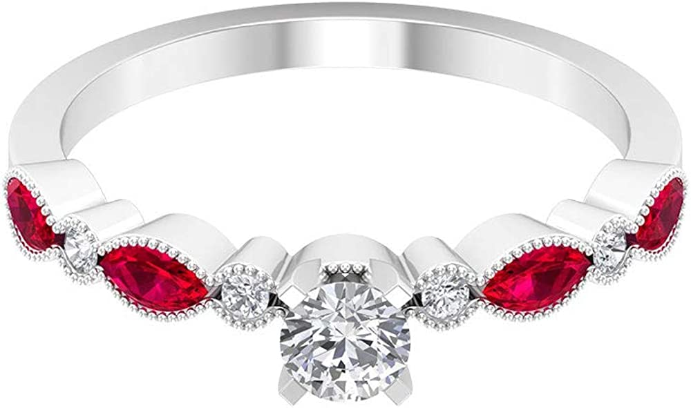 0.52 Ct SGL Certified Ruby Lab Created Beaded Engraved Ring, 0.31 Ct Solitaire Diamond Wedding Ring, Marquise Shape Gemstone Promise Ring, Women Statement Ring, 14K Gold