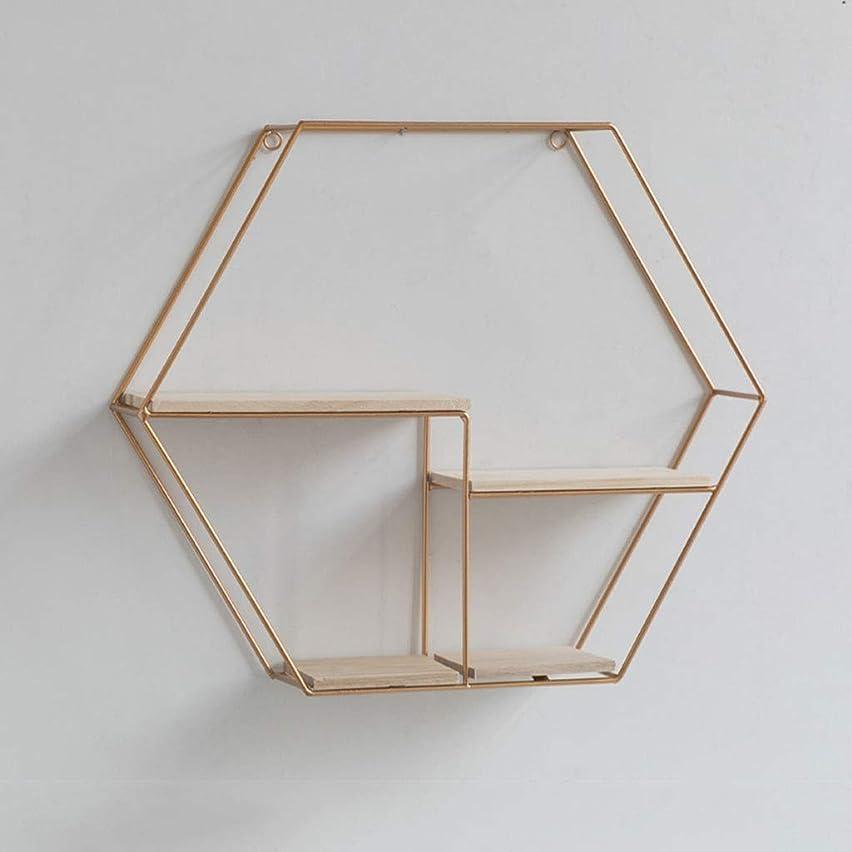 悲劇コンパクトシャンパン錬鉄製の六角形のフローティングウォールマウント、北欧のウォールマウント、部屋の寝室の壁の装飾、クリエイティブウォールシェルフ、ブラック/ゴールド (Color : Gold)