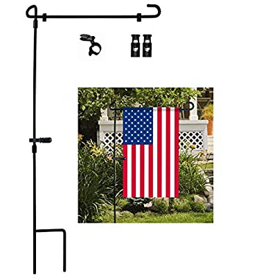 """Garden Flag Stand, Premium Garden Flag Pole Holder Metal Wrought Iron Powder-Coated Weather-Proof Paint 36.5"""" H x 16.5"""" W with one Tiger Anti-Wind Clip and Two Anti-Wind Spring Stoppers"""