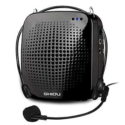 Voice amplifier portable with microphone headset SHIDU S511 Loudspeaker 15W Rechargeable Portable speaker PA System mini voice amplifier for teachers,yoga,tour guides,coaches,presenters,classroom from Shidu