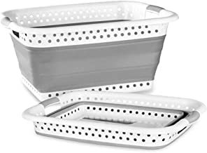 Foldable Bath Tub Collapsible Plastic Laundry Basket Storage Container Gray ManxiVoo Baby Bathtub