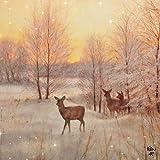 20 Servietten Rehe in Morgenröte als winterliche Tischdeko für Liebhaber von Tier und Wald 33x33cm