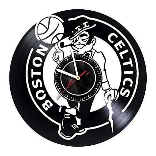 Vinyl Wall Clock Compatible with Boston Basketball - Made of Vinyl Record - Handmade Original Design - Great Gifts idea for Birthday, Women, Men, Friends