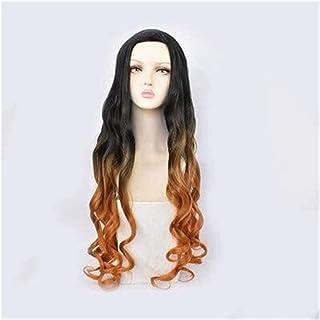 YYCHER Anime Cosplay Wigs Demon Slayer Kamado Nezuko Fake Hair Delicate Dyed Gradient Long Curly Hair