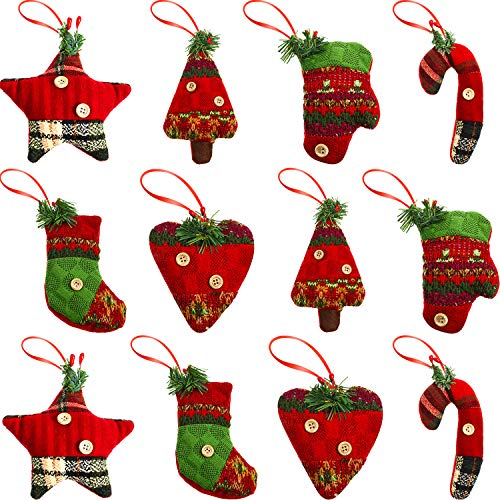 Boao 12 Pieces Christmas Tree Ornaments Rustic Xmas Hanging Decorations, Stocking, Glove, Xmas Tree, Cane, Heart and Star Shaped Holiday Party Decor