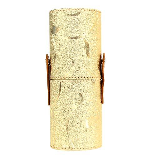 Demiawaking Portable Voyage Maquillage Brosse Porte-gobelet Paillettes Feuille Cuir PU Make Up Pinceaux Cosmétique Coque support pour pot de fleurs Sac de rangement doré