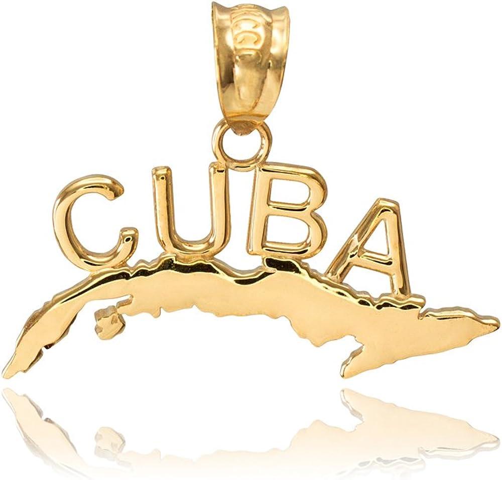 High Polish 10k Yellow Gold Cuba Charm Pendant