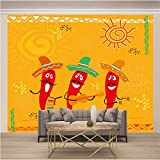 MGM wallpaper 3D No Tejido Papel Pintado De La Pared Autoadhesivo Mural Tamaño Múltiple Dibujos Animados Rojo Chile Pegatinas De Pared, Calcomanías De Vinilo De Creativo Extraíble Para Baño Niños Dorm