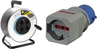 Electraline 49014 Avvolgicavo, Avvolgi-Prolunghe senza cavo in metallo antiruggine & 80864 Adattatore Industriale da CEE a...