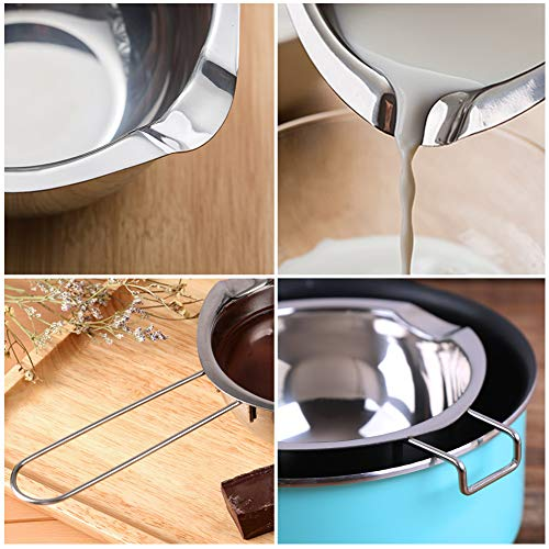Stainless Steel Double Boiler with Plastic Scraper for Melting Chocolate, Butter, Cheese, Caramel and Soap Making - 18/8 Steel Melting Pot, 2 Cup Capacity