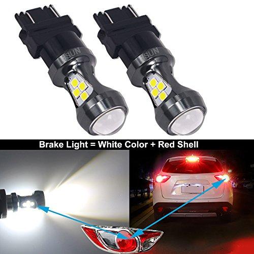 HSUN 3157 P27/7W T25 4157NA Bombillas LED, 16 piezas de chips LED SMD3030 3200LM bombillas extremadamente brillantes para freno de coche LED luz de marcha atrás y más, paquete de 2, 6000 K blanco