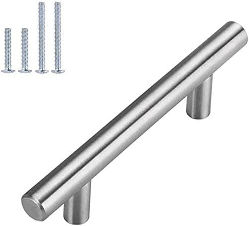 Brushed Nickel Cabinet Hardware Kitchen Cabinet Pulls 15 Pack -Homdiy HD201SN 3-3/4 in Hole Centers T Bar Cupboard Dr...