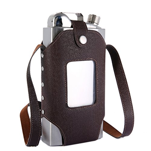 TOX TANEAXON 35 oz Large Capacity Whiskey Flasks for Liquor with Removable Transparent Holster - Stainless Steel and Leak Proof