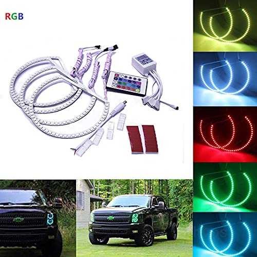 Qiuko RGB Multi-color LED Angel Eye Light Halo Ring Demon KIT Headlight For Dodge Challenger 2008-2014