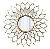 ilifehome Espejo Redondo con Forma de Sol, Espejo Decorativo de Pared, Marco de Madera, Espejo Decorativo Colgante para Dormitorio, Salon, hogar, Hotel, Oro Envejecido (50/60/70/80 cm)