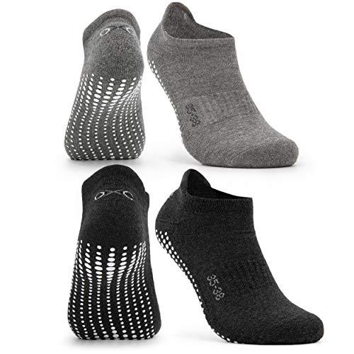 Occulto Calcetines Antideslizantes para Mujer y Hombre (2-4 Pares), Calcetines para Yoga y Pilates Mujer Hombre 2 Pares | Gris Negro 39-42