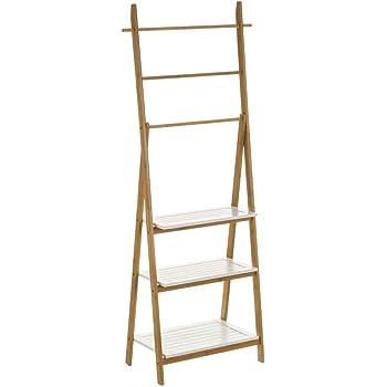 Estantería con 3 estantes y 3 Barras de Escalera de bambú y MDF nórdica Blanca de 154x29x53 cm - LOLAhome: Amazon.es: Hogar