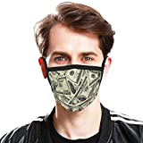 Dollar Bill Face Mask Money Print Face Mask Unisex Pretty Cotton Mouth Cover Protection for Women and Men Outdoors Sports