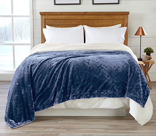 Home Fashion Designs Premium Reversible Berber and Sculpted Velvet Plush Luxury Blanket. High-End, Soft, Warm Sherpa Bed Blanket. By Brand. (Twin, Navy)