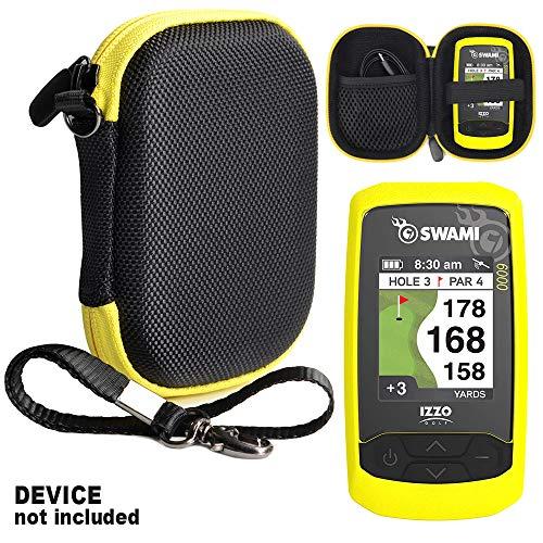 CaseSack Golf GPS-Hülle speziell für Izzo Swami 4000+ Golf GPS und Swami 4000, Swami 5000 Golf GPS Entfernungsmesser; Garmin Approach G30, G6, G7, Compact Size, Schwarz mit gelbem Reißverschluss