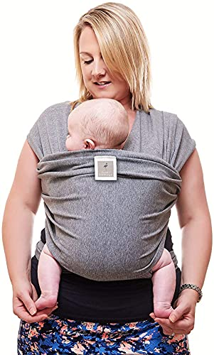 Baby Sling Wrap Premium Baby Carrier Newborn to Toddler - Original Stretchy Baby Wrap Carrier | One Size Fits All | Cozy & Soothing for Babies | Neutral Grey by Funki Flamingo